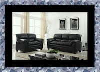 Black bonded sofa and loveseat McLean
