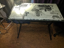 Mapped glass table