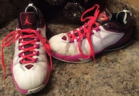 Jordan white, red, pink, & black running shoes ( pls slide to see other photo )