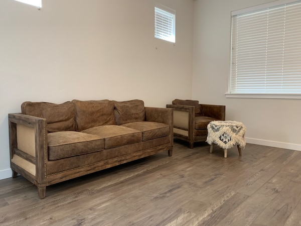 Distressed Leather Sofa & Chair