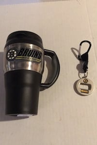Boston Bruins coffee mug and bottle opener keychain and frosty mug Arlington, 02474
