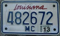 Louisiana Motorcycle License Plate Chattanooga, 37421