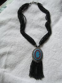 Coral Black Necklace with a pendant