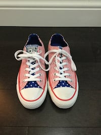 Converse American Flag Chucks Red White Stripes Blue Tongue Low tops