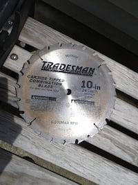 """Only $7! Carbide tipped combination blade. 10"""" 24 tooth 5/8"""" arbor  Springfield"""