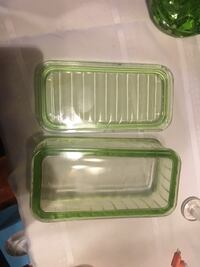 rectangular green tint glass container with lid Rancho Cordova, 95670
