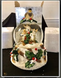"Fitz & Floyd Snow Globe ""We Wish You A Merry Christmas"" Music Box"