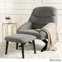 Gray Mid-Century Fabric Chair with Ottoman Burbank, 91502