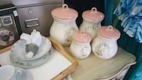 white and pink floral ceramic canisters 3745 km