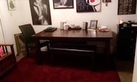 Sturdy kitchen table with 2 benches. Table is 5.5' x 3'