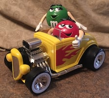 """M&M's Collectible """"Rebel Without A Clue"""" Hot Rod Candy Dispenser."""