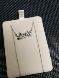White gold necklace with love pendant 10k
