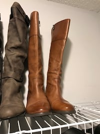 Pair of brown leather  designer wide-calf boots Mississauga, L5B 4G7