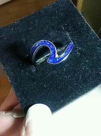 Size 8 blue opal in 18 K white gold filled S925