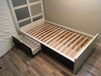 White and black wooden bed frame Toronto, M8Z 4P5