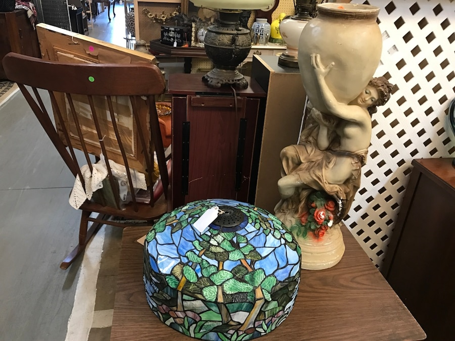 green and white floral lamp shade