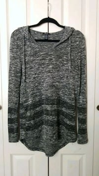 Rue 21: Hooded Gray & Black Scoop-Neck Sweater Pleasant Grove