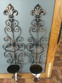 two black metal candle holders Johns Island