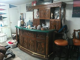 brown wooden hand carved asian bar..credenza+hutch