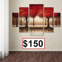 AJ- BRAND NEW- Parade of Red Trees by Rio Framed 5 Piece Set on Canvas Mississauga