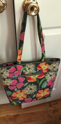 white, red, and green floral tote bag Fairfax, 05454