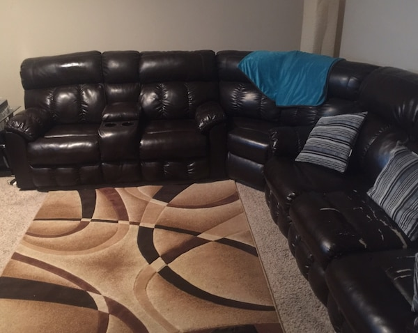 4pc Brown leather recliner sofa w/4 full recliner seats,4 cup  holders,reading night lights,storage console w/ 2 outlet plugs & 2 phone  charging jacks ...