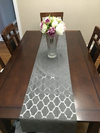 rectangular brown wooden dining table with chairs Toronto, M9W 1S7