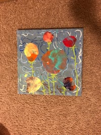 blue, gray, red, and yellow abstract painting