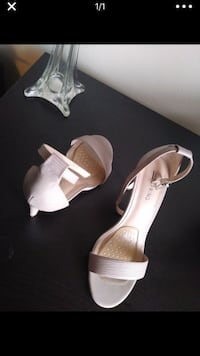 pair of white leather open toe ankle strap heels Quincy, 02170