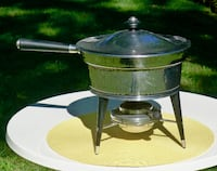 "VINTAGE STAINLESS STEEL 10"" CHAFING DISH FONDUE POT"