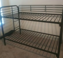 Black metal bunk bed