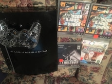 black PS2 game console and games