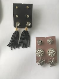 pair of silver and black earrings Markham, L3T 1K5