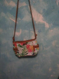 women's brown, green, and white leather sling bag Lancaster, 93534