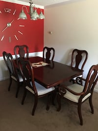 Rectangular brown wooden table with six chairs dining set Sandy Springs, 30350
