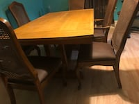 Rectangular brown wooden table with four chairs dining set Aurora, 60505