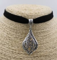 NEW 3 PC Set Teardrop Silver Tone Filigree Black Velvet Choker Lubbock