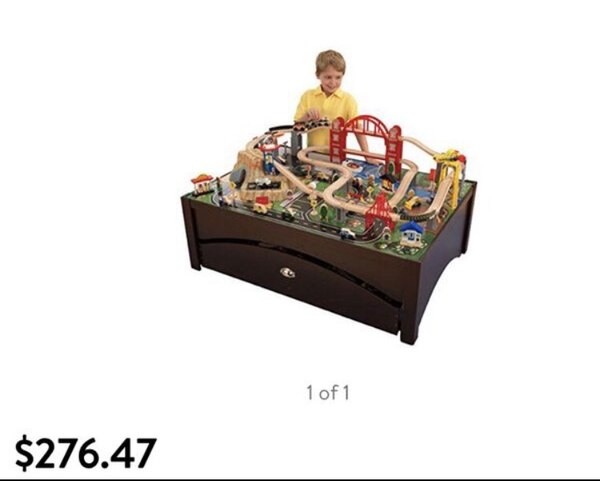Kidkraft train table with extra tracks and trains