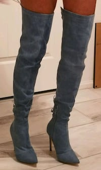 "Thigh hi, back lace up, denim boots, size 5.5, 4""  Henderson"