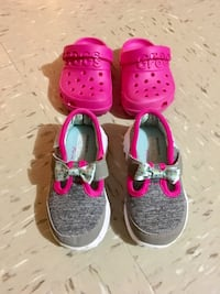 two pairs of pink shoes