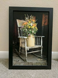 Shabby chic Picture Painting with frame - warm glow candle outlet