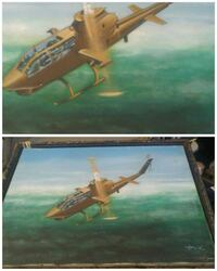 brown wooden framed painting of gold helicopter Cabazon, 92230