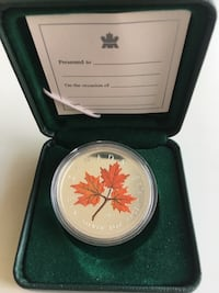 2001 99.99% Fine Silver 1 oz. Canada Mint Coloured Maple  Calgary, T2H 0A4