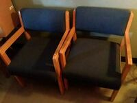 brown wooden framed blue padded armchair Jefferson City, 65109