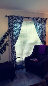Used Curtain Panels - Teal & White (84') White Plains, 20695