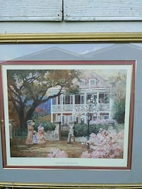 two woman in front of 2-storey house painting with brown wooden frame Shelby, 28152
