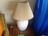 White lamp with brown cone lamp shade