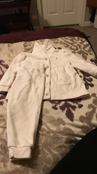 pair of white jacket and sweat pants