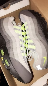 Pair of white and lime green 95' Airmax