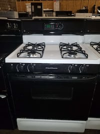 white and black 4-burner gas range Temple Hills, 20748
